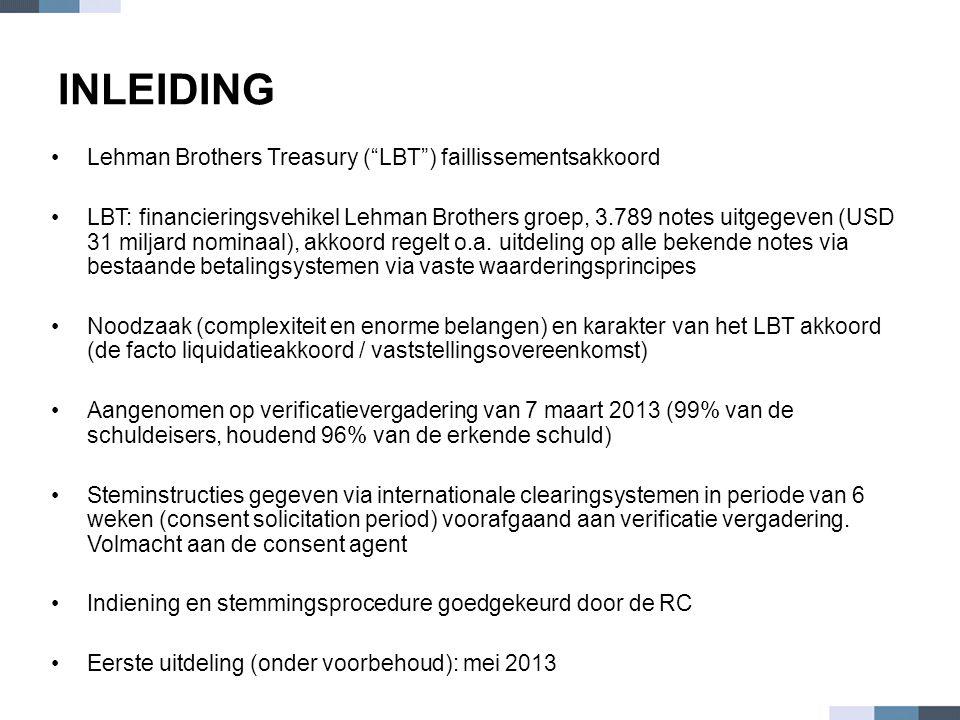 "INLEIDING •Lehman Brothers Treasury (""LBT"") faillissementsakkoord •LBT: financieringsvehikel Lehman Brothers groep, 3.789 notes uitgegeven (USD 31 mil"