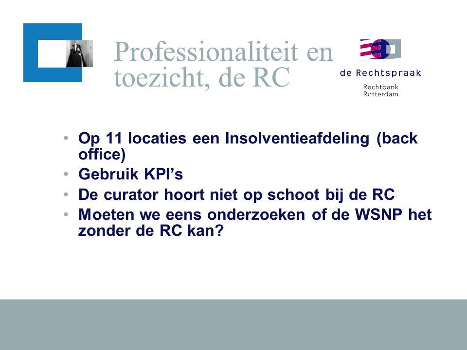 •Op 11 locaties een Insolventieafdeling (back office) •Gebruik KPI's •De curator hoort niet op schoot bij de RC •Moeten we eens onderzoeken of de WSNP