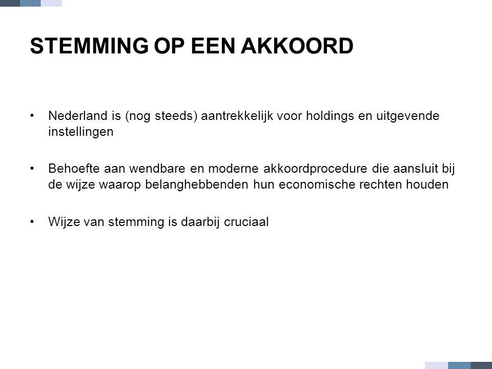 STEMMING OP EEN AKKOORD •Nederland is (nog steeds) aantrekkelijk voor holdings en uitgevende instellingen •Behoefte aan wendbare en moderne akkoordpro