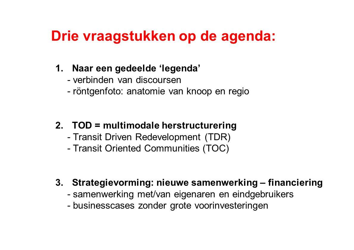 Drie vraagstukken op de agenda: 1.Naar een gedeelde 'legenda' - verbinden van discoursen - röntgenfoto: anatomie van knoop en regio 2.TOD = multimodale herstructurering - Transit Driven Redevelopment (TDR) - Transit Oriented Communities (TOC) 3.Strategievorming: nieuwe samenwerking – financiering - samenwerking met/van eigenaren en eindgebruikers - businesscases zonder grote voorinvesteringen