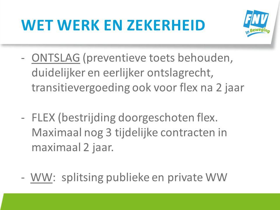 -ONTSLAG (preventieve toets behouden, duidelijker en eerlijker ontslagrecht, transitievergoeding ook voor flex na 2 jaar -FLEX (bestrijding doorgescho