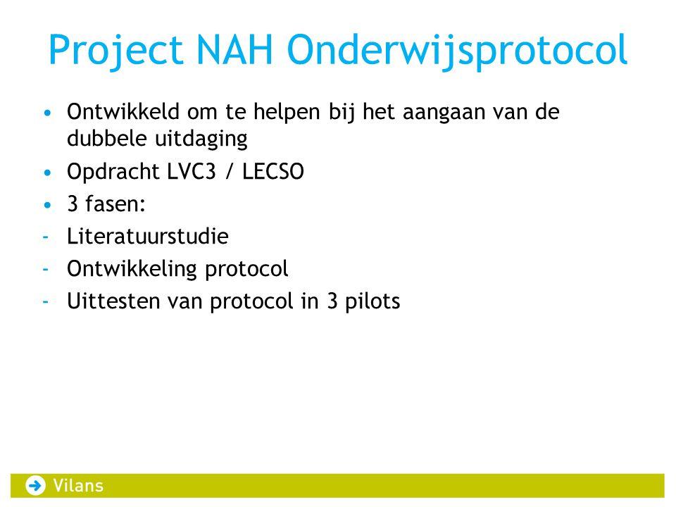 Project NAH Onderwijsprotocol •Ontwikkeld om te helpen bij het aangaan van de dubbele uitdaging •Opdracht LVC3 / LECSO •3 fasen: -Literatuurstudie -Ontwikkeling protocol -Uittesten van protocol in 3 pilots