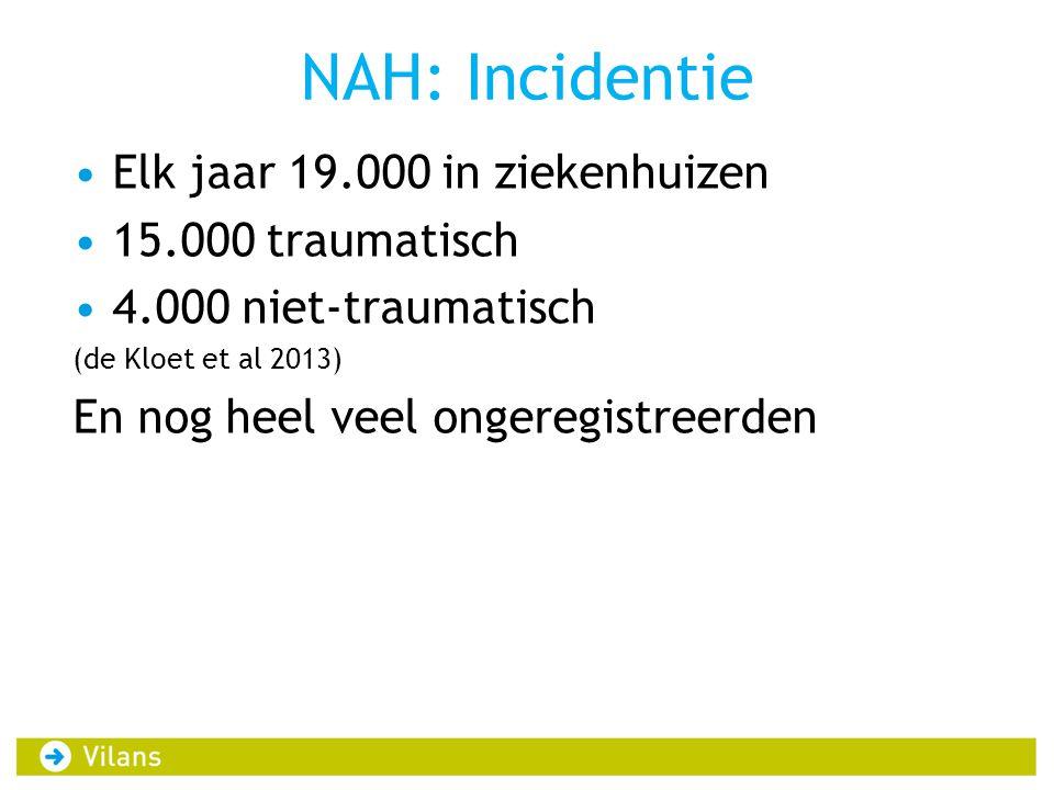 NAH: Incidentie •Elk jaar 19.000 in ziekenhuizen •15.000 traumatisch •4.000 niet-traumatisch (de Kloet et al 2013) En nog heel veel ongeregistreerden