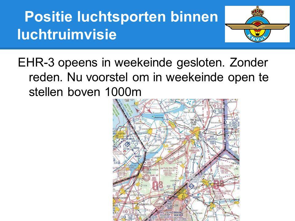 Positie luchtsporten binnen luchtruimvisie EHR-3 opeens in weekeinde gesloten. Zonder reden. Nu voorstel om in weekeinde open te stellen boven 1000m