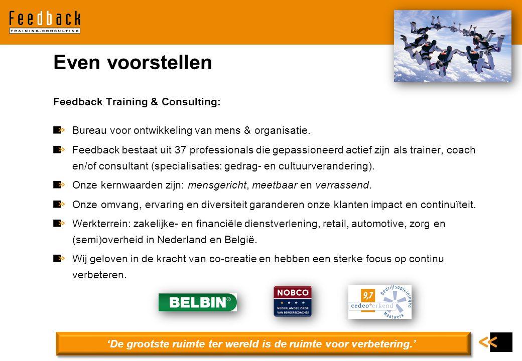 Feedback Training & Consulting: Bureau voor ontwikkeling van mens & organisatie. Feedback bestaat uit 37 professionals die gepassioneerd actief zijn a