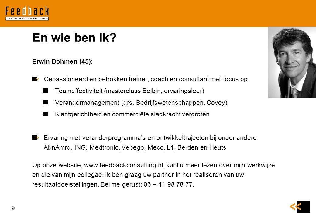 Erwin Dohmen (45): Gepassioneerd en betrokken trainer, coach en consultant met focus op: Teameffectiviteit (masterclass Belbin, ervaringsleer) Verande