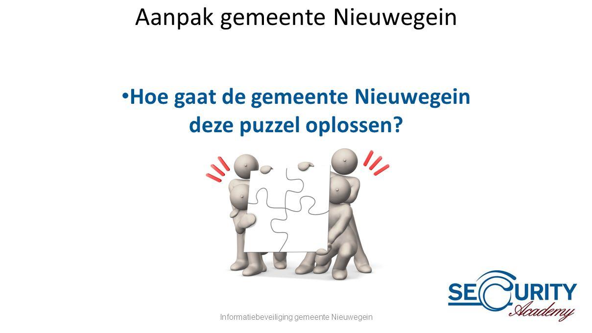 Aanpak gemeente Nieuwegein • Hoe gaat de gemeente Nieuwegein deze puzzel oplossen? Informatiebeveiliging gemeente Nieuwegein23