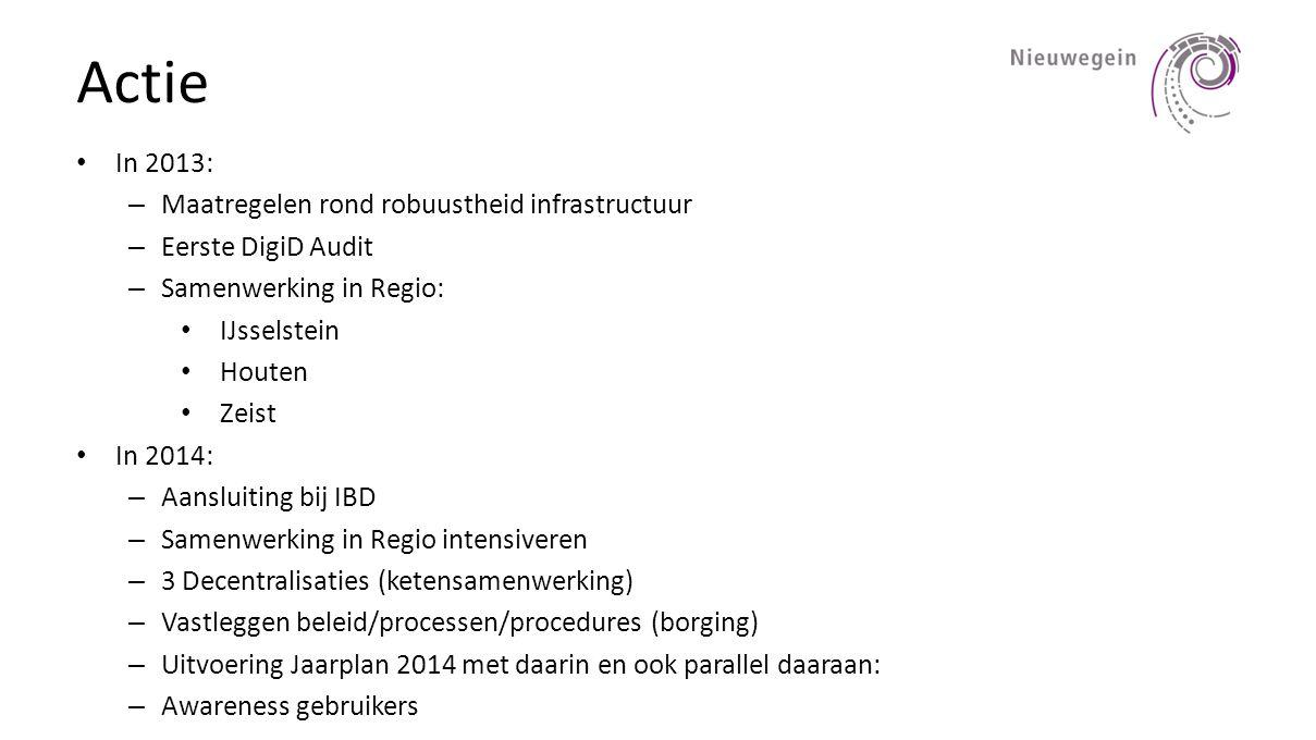 Actie • In 2013: – Maatregelen rond robuustheid infrastructuur – Eerste DigiD Audit – Samenwerking in Regio: • IJsselstein • Houten • Zeist • In 2014: