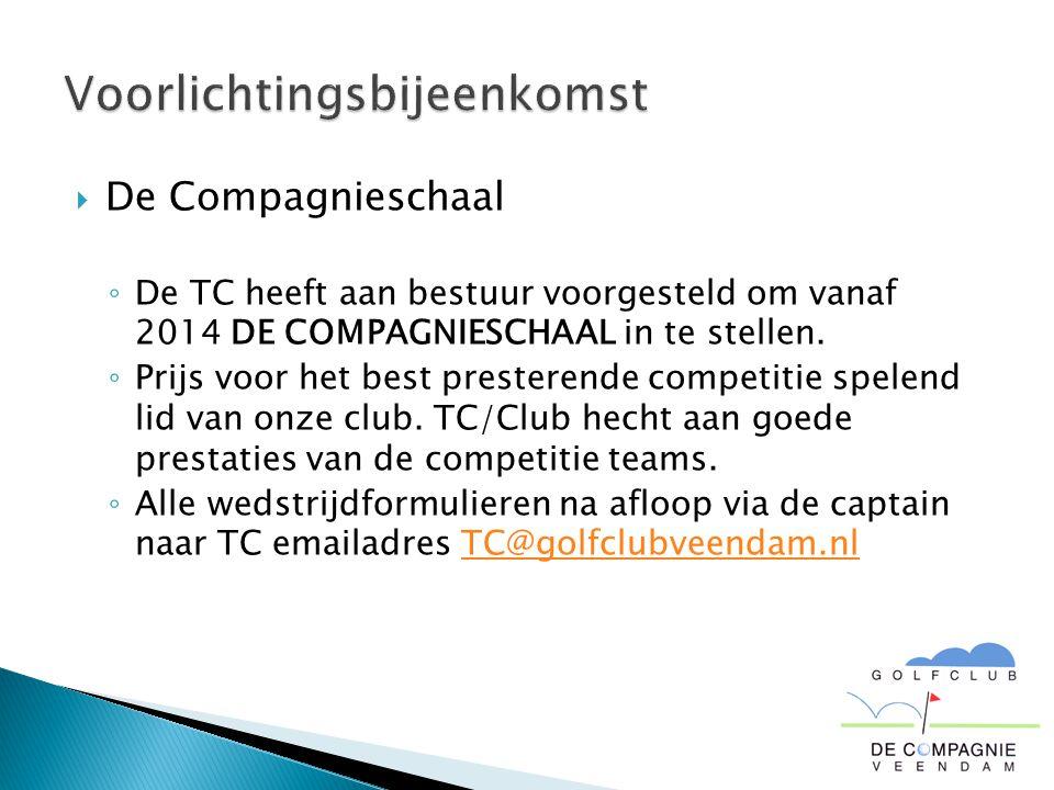  De Compagnieschaal ◦ De TC heeft aan bestuur voorgesteld om vanaf 2014 DE COMPAGNIESCHAAL in te stellen. ◦ Prijs voor het best presterende competiti