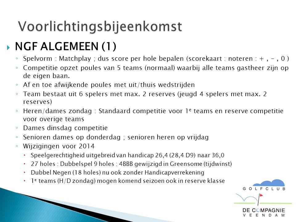  NGF ALGEMEEN (1) ◦ Spelvorm : Matchplay ; dus score per hole bepalen (scorekaart : noteren : +, -, 0 ) ◦ Competitie opzet poules van 5 teams (normaal) waarbij alle teams gastheer zijn op de eigen baan.
