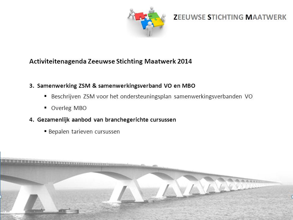 Activiteitenagenda Zeeuwse Stichting Maatwerk 2014 3. Samenwerking ZSM & samenwerkingsverband VO en MBO  Beschrijven ZSM voor het ondersteuningsplan