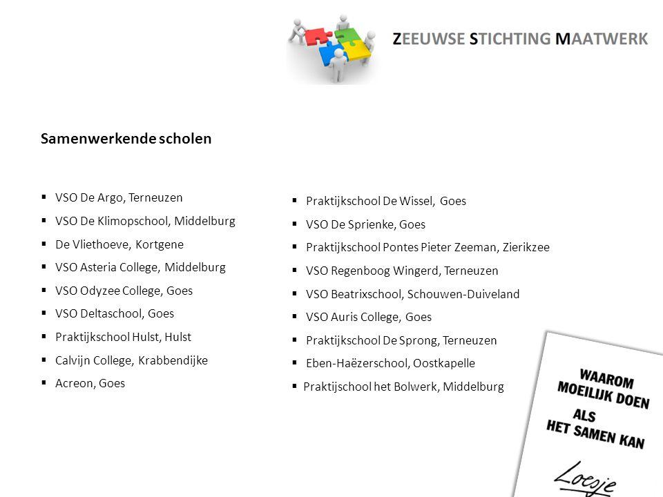 Samenwerkende scholen  VSO De Argo, Terneuzen  VSO De Klimopschool, Middelburg  De Vliethoeve, Kortgene  VSO Asteria College, Middelburg  VSO Ody