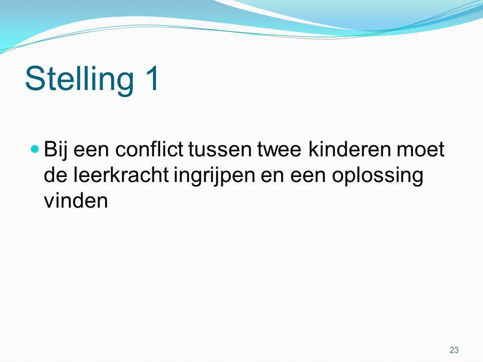 Stelling 1  Bij een conflict tussen twee kinderen moet de leerkracht ingrijpen en een oplossing vinden 23