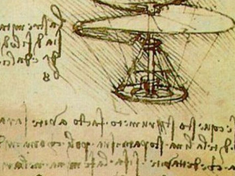• Ornitopter • 1488 • Fladderbewegingen vogel • Nooit gebouwd door hemzelf te hoge kosten of het risico van de vlucht
