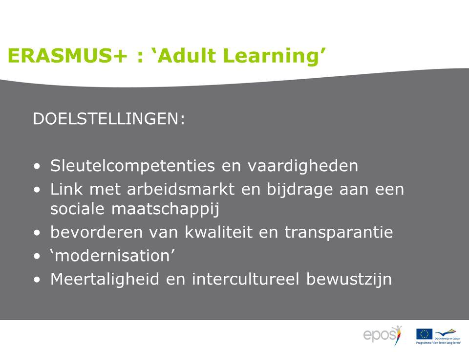 DOELSTELLINGEN: •Sleutelcompetenties en vaardigheden •Link met arbeidsmarkt en bijdrage aan een sociale maatschappij •bevorderen van kwaliteit en transparantie •'modernisation' •Meertaligheid en intercultureel bewustzijn ERASMUS+ : 'Adult Learning'