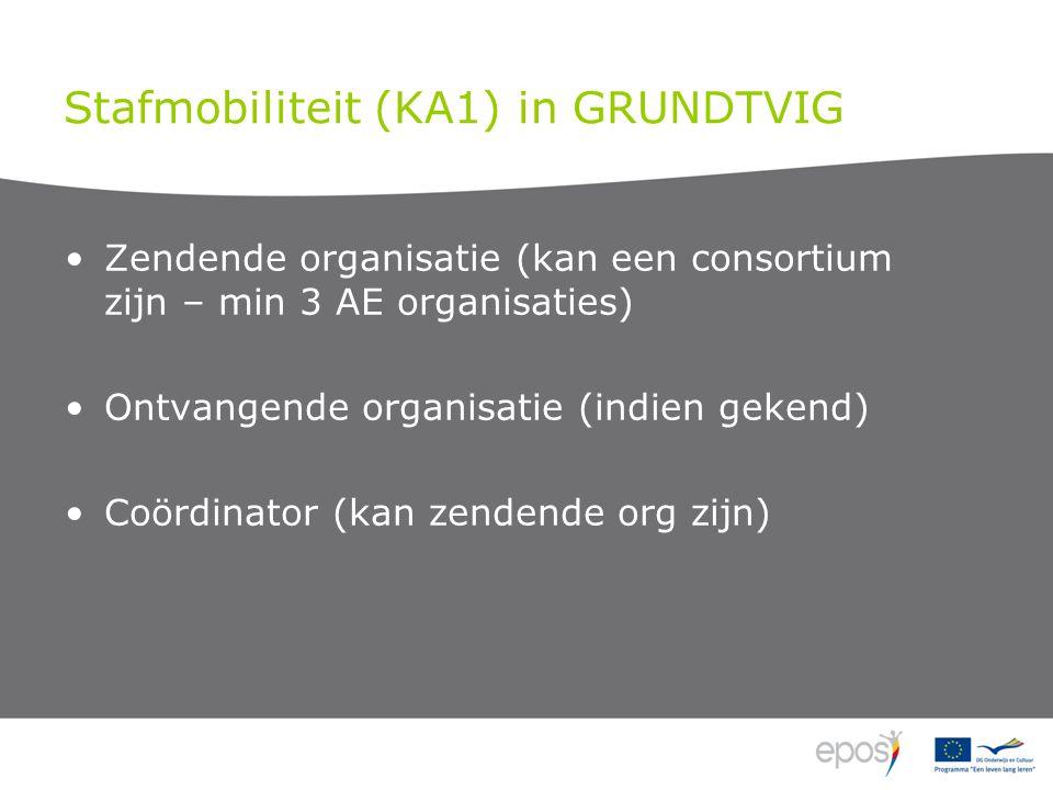 Stafmobiliteit (KA1) in GRUNDTVIG •Professionele ontwikkeling –Deelname aan gestructureerde cursus of 'training event' –Job shadowing / observatie in een relevante organisatie •Onderwijs- of opleidingsopdracht in een partnerorganisatie •Van 2 dagen tot 2 maanden