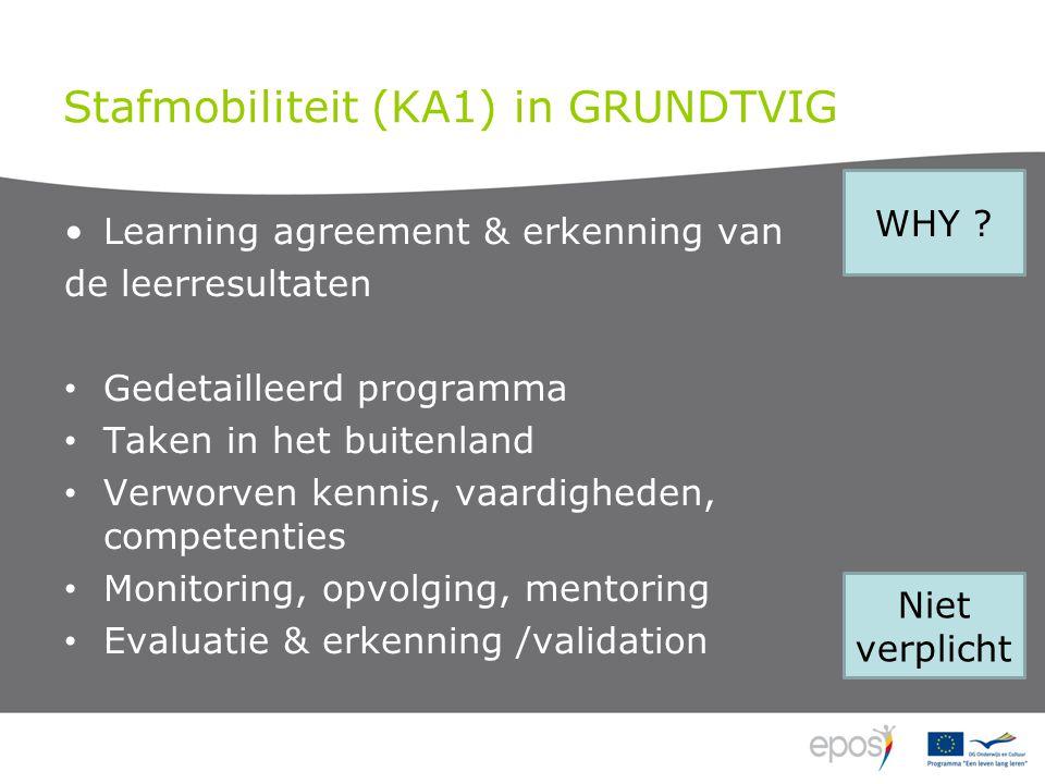 Stafmobiliteit (KA1) in GRUNDTVIG •Learning agreement & erkenning van de leerresultaten • Gedetailleerd programma • Taken in het buitenland • Verworven kennis, vaardigheden, competenties • Monitoring, opvolging, mentoring • Evaluatie & erkenning /validation WHY .
