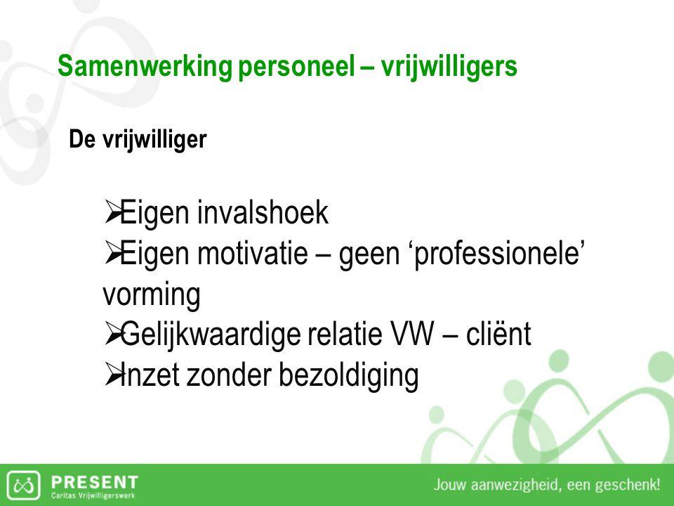 Samenwerking personeel – vrijwilligers De vrijwilliger  Eigen invalshoek  Eigen motivatie – geen 'professionele' vorming  Gelijkwaardige relatie VW