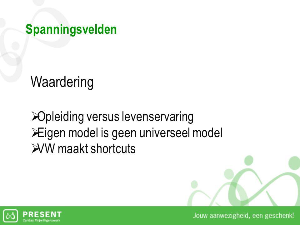Spanningsvelden Waardering  Opleiding versus levenservaring  Eigen model is geen universeel model  VW maakt shortcuts