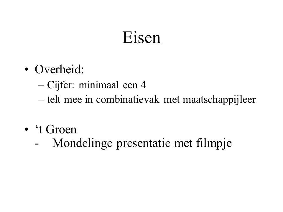 Eisen •Overheid: –Cijfer: minimaal een 4 –telt mee in combinatievak met maatschappijleer •'t Groen -Mondelinge presentatie met filmpje