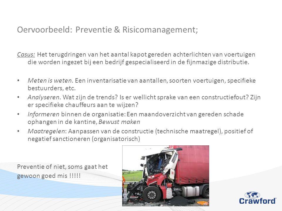 Oervoorbeeld: Preventie & Risicomanagement; Casus: Het terugdringen van het aantal kapot gereden achterlichten van voertuigen die worden ingezet bij een bedrijf gespecialiseerd in de fijnmazige distributie.