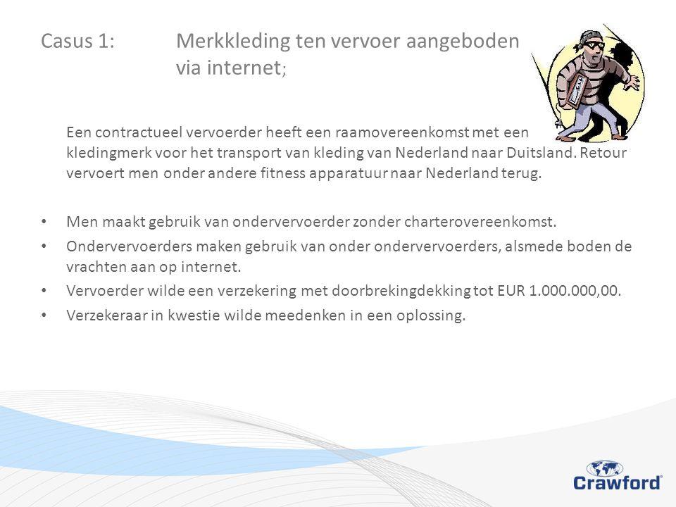 Casus 1: Merkkleding ten vervoer aangeboden via internet ; Een contractueel vervoerder heeft een raamovereenkomst met een bekend kledingmerk voor het transport van kleding van Nederland naar Duitsland.