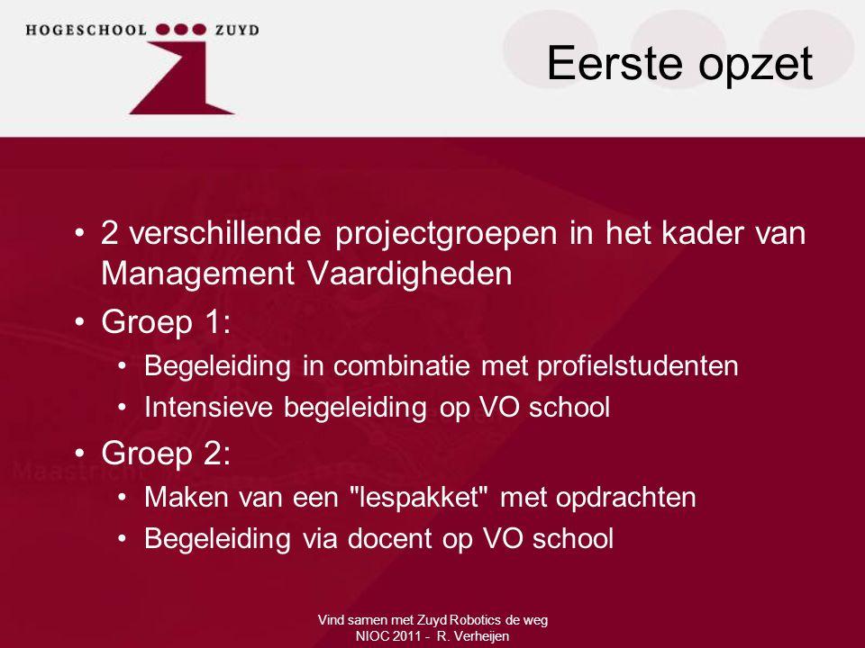 Eerste opzet Vind samen met Zuyd Robotics de weg NIOC 2011 - R. Verheijen •2 verschillende projectgroepen in het kader van Management Vaardigheden •Gr