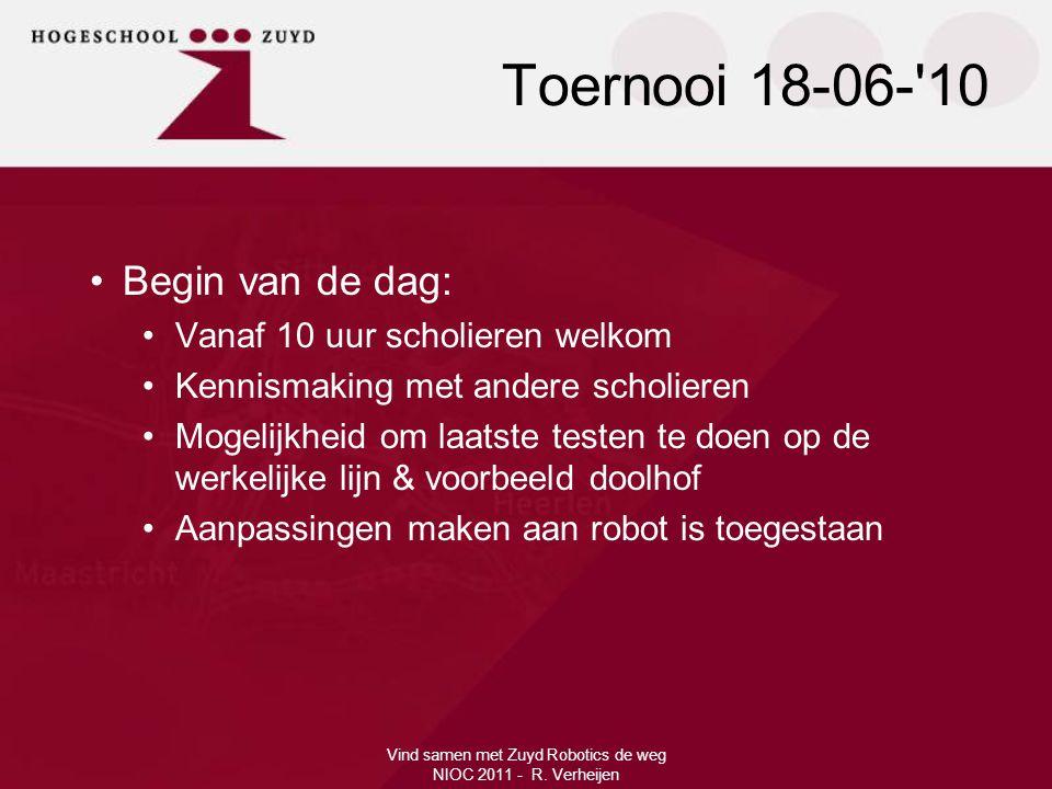 Toernooi 18-06-'10 Vind samen met Zuyd Robotics de weg NIOC 2011 - R. Verheijen •Begin van de dag: •Vanaf 10 uur scholieren welkom •Kennismaking met a