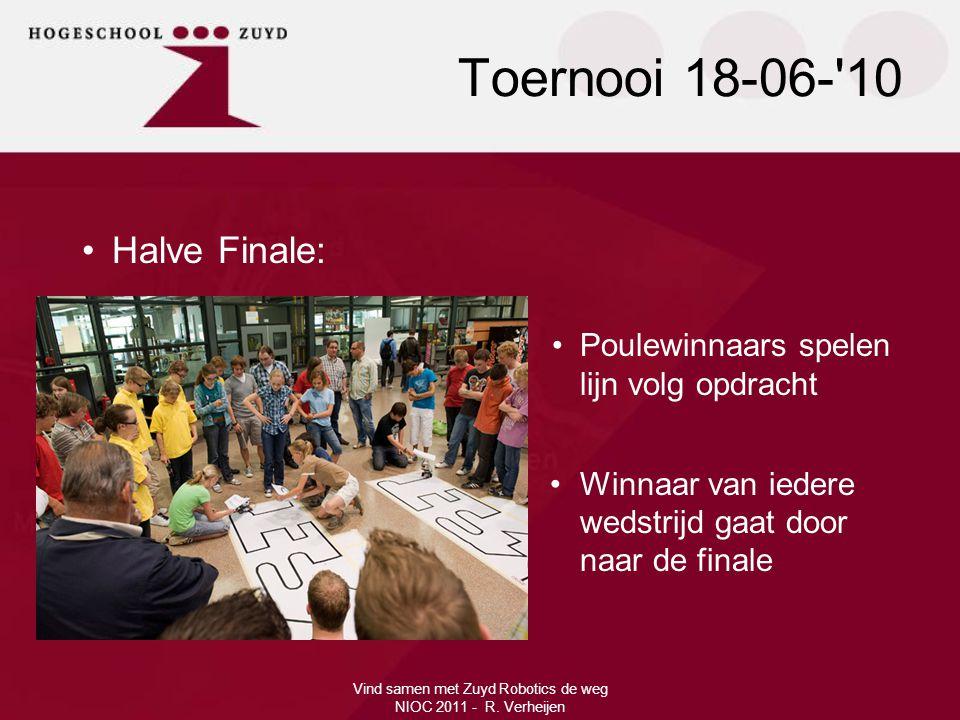 Vind samen met Zuyd Robotics de weg NIOC 2011 - R. Verheijen •Halve Finale: •Poulewinnaars spelen lijn volg opdracht •Winnaar van iedere wedstrijd gaa