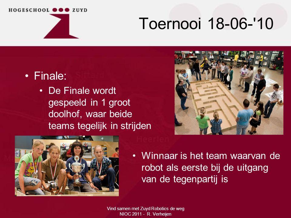 Vind samen met Zuyd Robotics de weg NIOC 2011 - R. Verheijen •Finale: •De Finale wordt gespeeld in 1 groot doolhof, waar beide teams tegelijk in strij