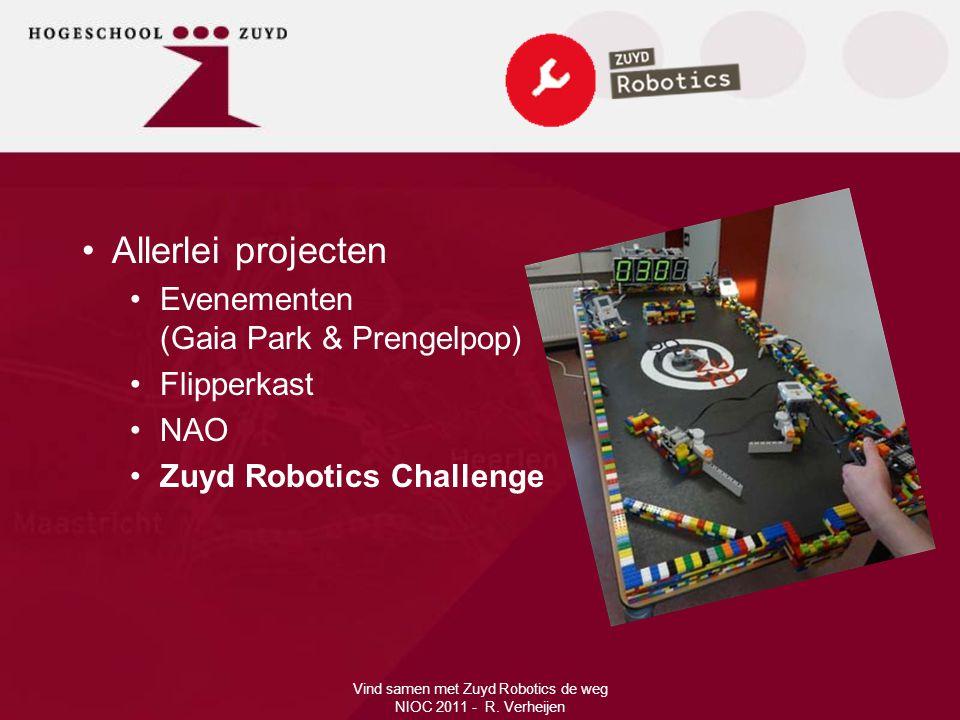 Vind samen met Zuyd Robotics de weg NIOC 2011 - R. Verheijen •Allerlei projecten •Evenementen (Gaia Park & Prengelpop) •Flipperkast •NAO •Zuyd Robotic