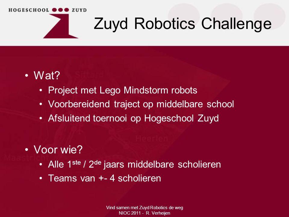 •Wat? •Project met Lego Mindstorm robots •Voorbereidend traject op middelbare school •Afsluitend toernooi op Hogeschool Zuyd •Voor wie? •Alle 1 ste /