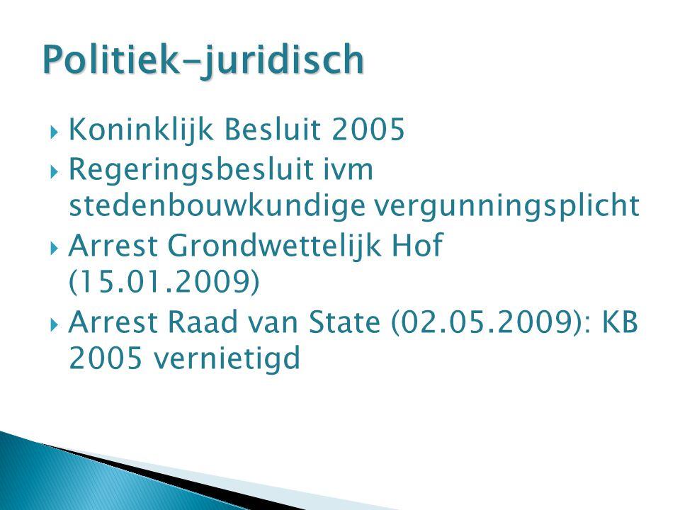  Koninklijk Besluit 2005  Regeringsbesluit ivm stedenbouwkundige vergunningsplicht  Arrest Grondwettelijk Hof (15.01.2009)  Arrest Raad van State (02.05.2009): KB 2005 vernietigd Politiek-juridisch