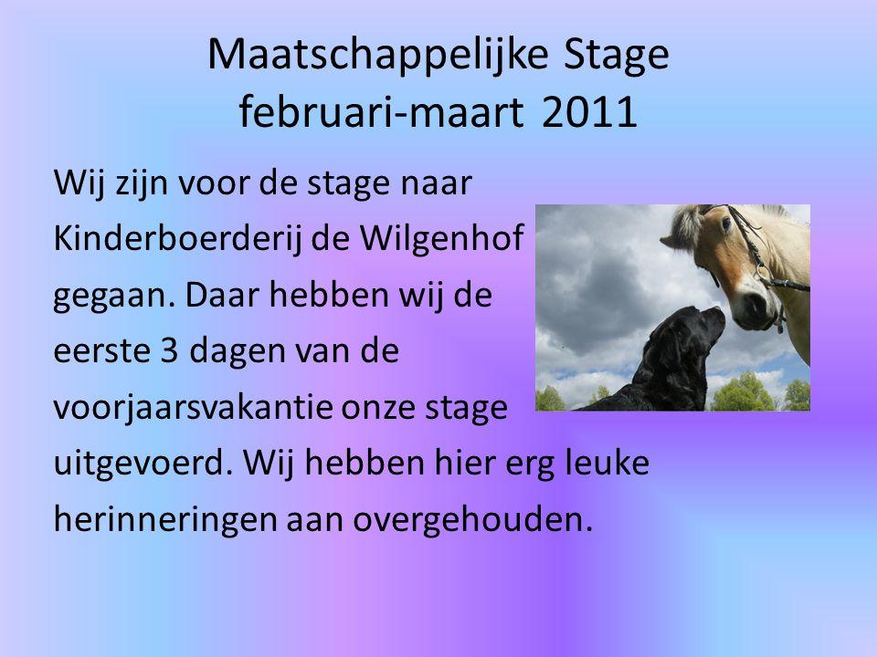 Maatschappelijke Stage februari-maart 2011 Wij zijn voor de stage naar Kinderboerderij de Wilgenhof gegaan.