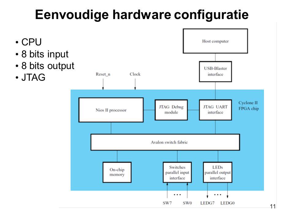 Eenvoudige hardware configuratie • CPU • 8 bits input • 8 bits output • JTAG 11