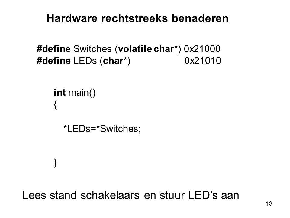 #define Switches (volatile char*) 0x21000 #define LEDs (char*) 0x21010 int main() { } *LEDs=*Switches; Lees stand schakelaars en stuur LED's aan Hardware rechtstreeks benaderen 13