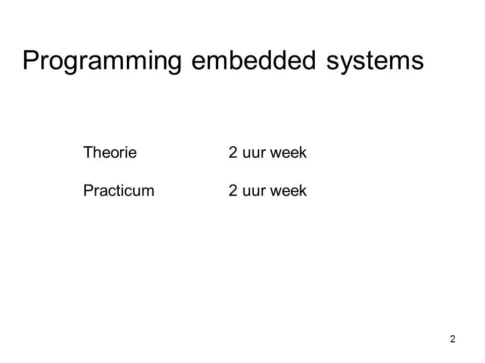 Theorie • Inleiding embedded systemen • Dieper op C ingaan • Schrijven van een driver • operating systemen • testen van embedded software.