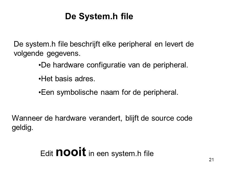 De System.h file De system.h file beschrijft elke peripheral en levert de volgende gegevens. • De hardware configuratie van de peripheral. • Het basis