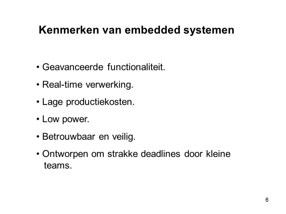 Kenmerken van embedded systemen • Geavanceerde functionaliteit. • Real-time verwerking. • Lage productiekosten. • Low power. • Betrouwbaar en veilig.