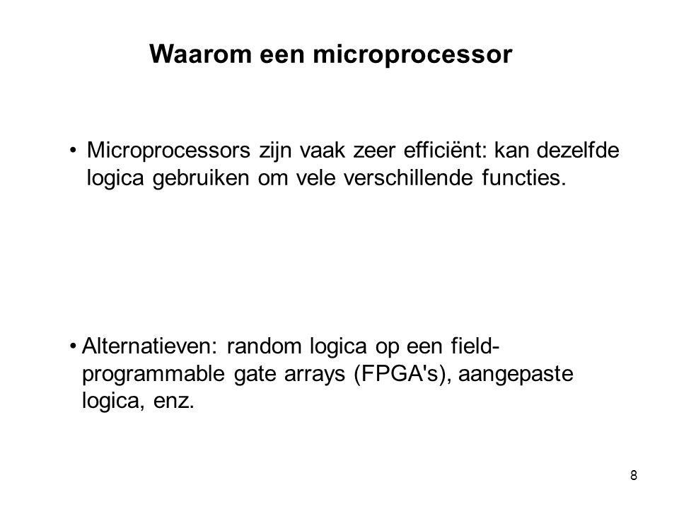 •Microprocessors zijn vaak zeer efficiënt: kan dezelfde logica gebruiken om vele verschillende functies. Waarom een microprocessor • Alternatieven: ra