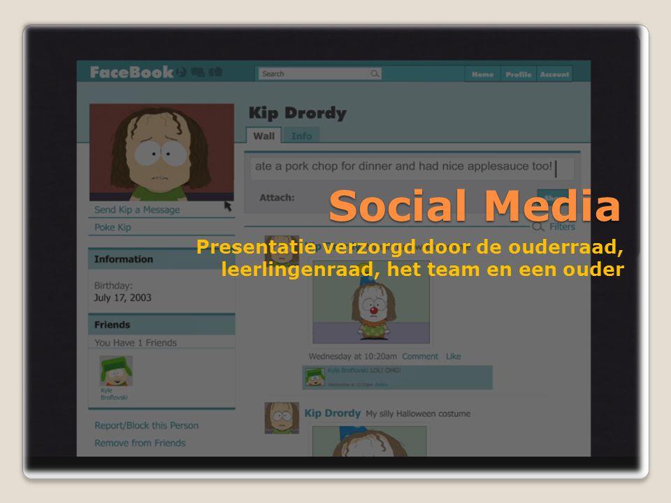Social Media Presentatie verzorgd door de ouderraad, leerlingenraad, het team en een ouder