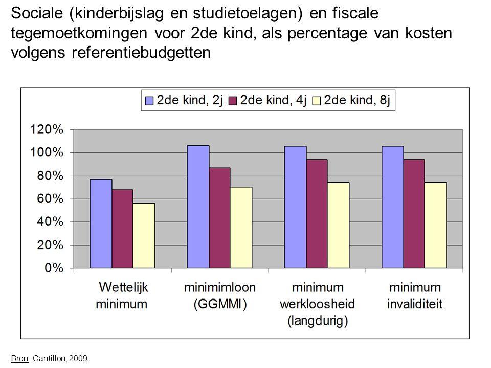 Sociale (kinderbijslag en studietoelagen) en fiscale tegemoetkomingen voor 2de kind, als percentage van kosten volgens referentiebudgetten Bron: Cantillon, 2009