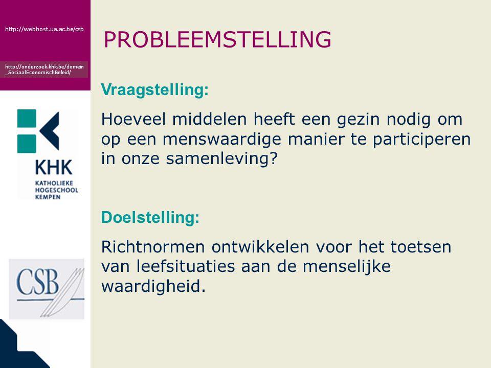 www.khk.be http://webhost.ua.ac.be/csb http://onderzoek.khk.be/domein _SociaalEconomischBeleid/ PROBLEEMSTELLING Vraagstelling: Hoeveel middelen heeft
