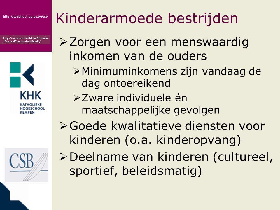 www.khk.be http://webhost.ua.ac.be/csb http://onderzoek.khk.be/domein _SociaalEconomischBeleid/ Kinderarmoede bestrijden  Zorgen voor een menswaardig