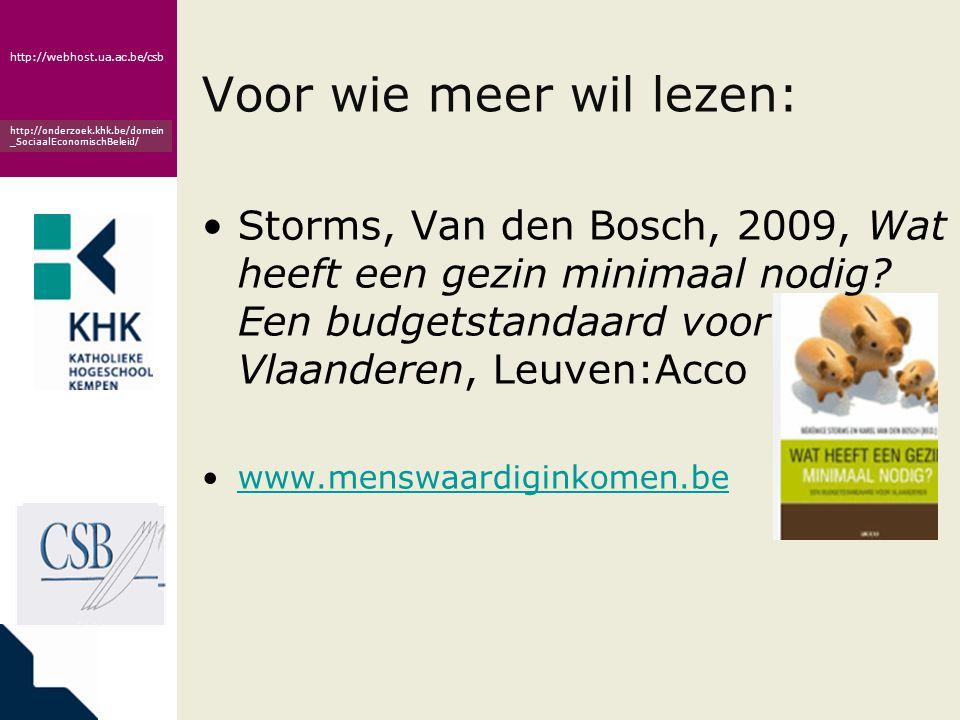 www.khk.be http://webhost.ua.ac.be/csb http://onderzoek.khk.be/domein _SociaalEconomischBeleid/ Voor wie meer wil lezen: •Storms, Van den Bosch, 2009, Wat heeft een gezin minimaal nodig.