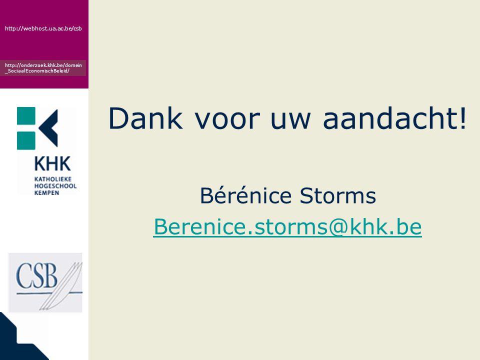www.khk.be http://webhost.ua.ac.be/csb http://onderzoek.khk.be/domein _SociaalEconomischBeleid/ Dank voor uw aandacht! Bérénice Storms Berenice.storms