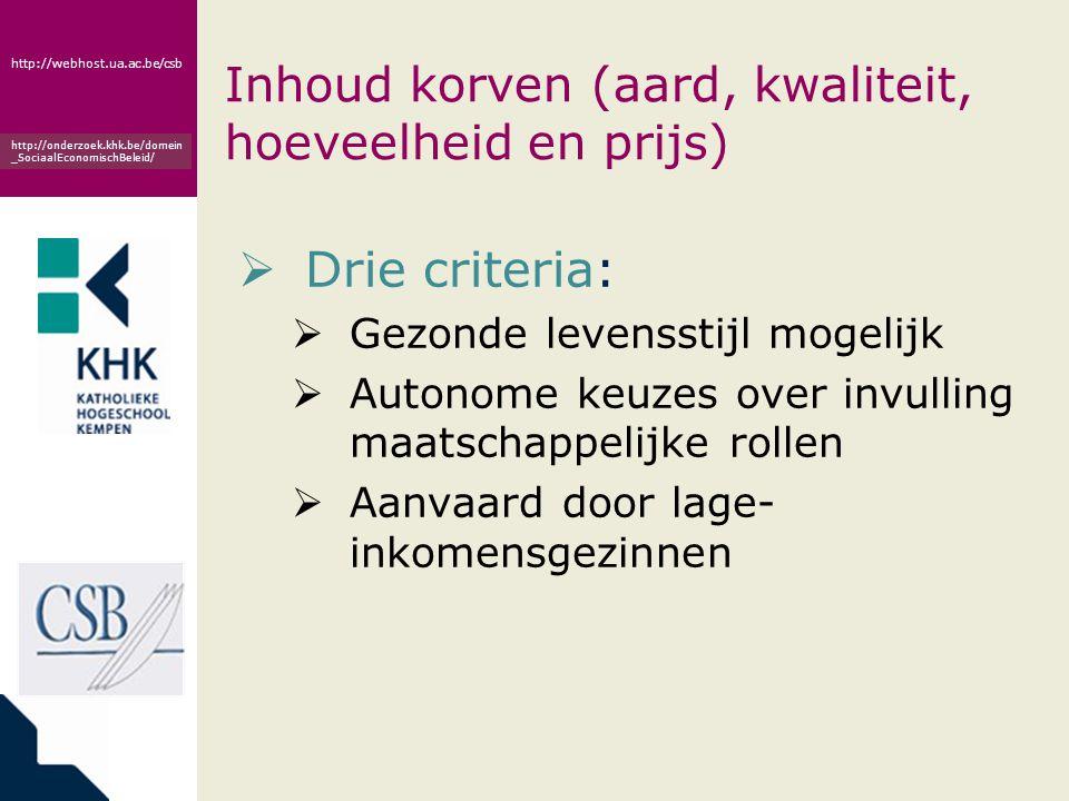 www.khk.be http://webhost.ua.ac.be/csb http://onderzoek.khk.be/domein _SociaalEconomischBeleid/ Inhoud korven (aard, kwaliteit, hoeveelheid en prijs)