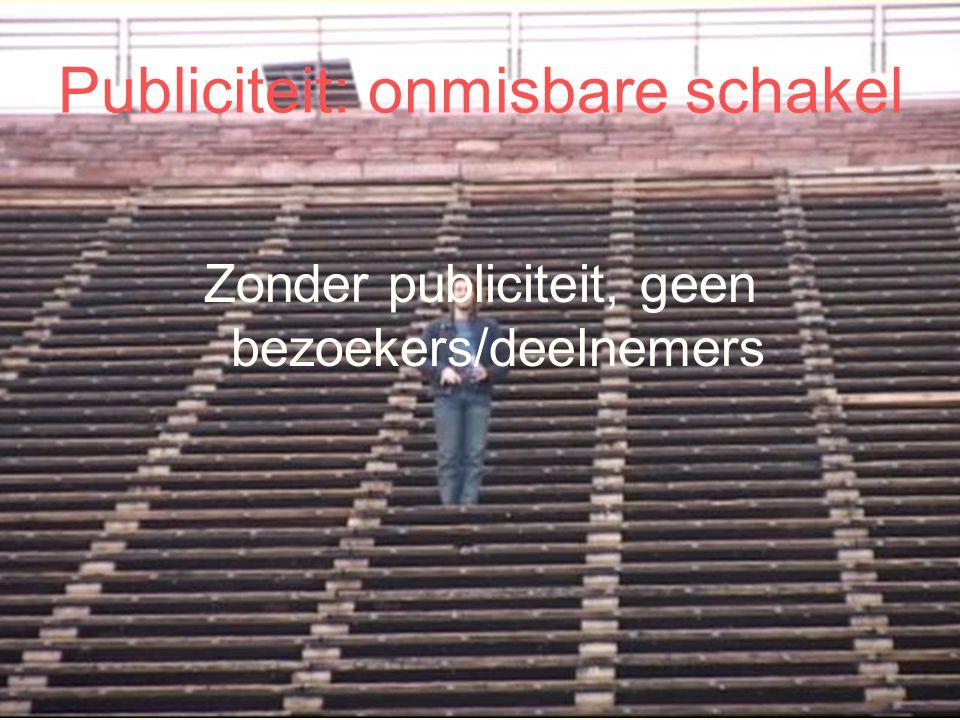 Publiciteit: onmisbare schakel Zonder publiciteit, geen bezoekers/deelnemers
