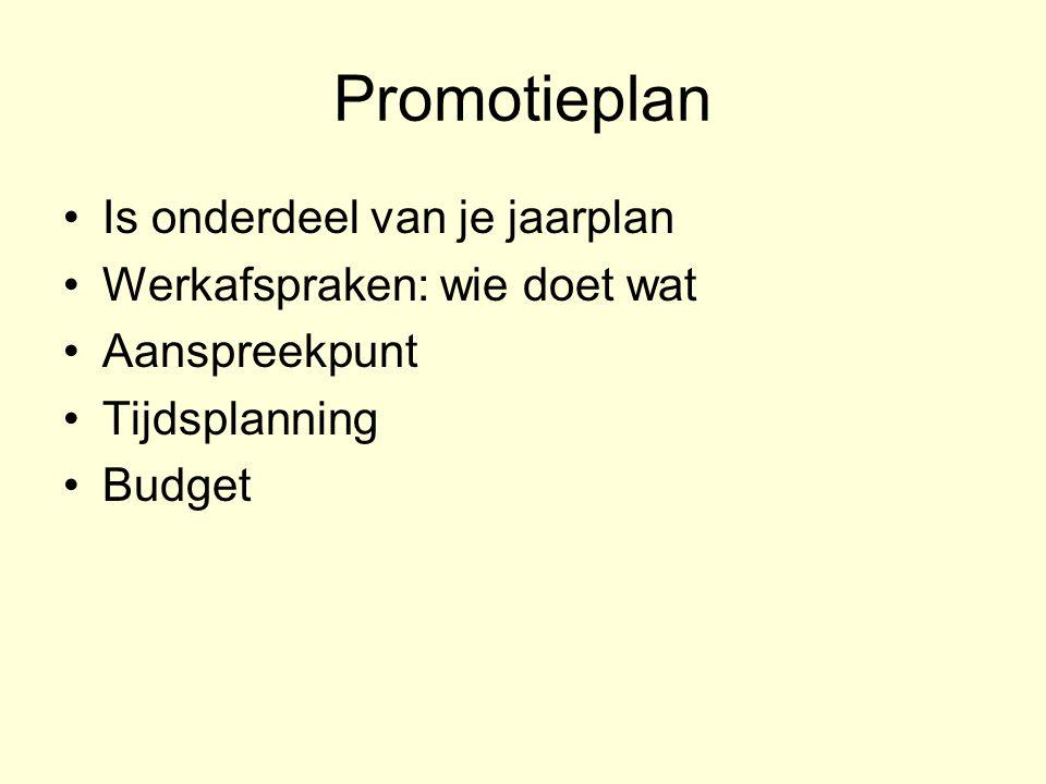 Promotieplan Is onderdeel van je jaarplan Werkafspraken: wie doet wat Aanspreekpunt Tijdsplanning Budget