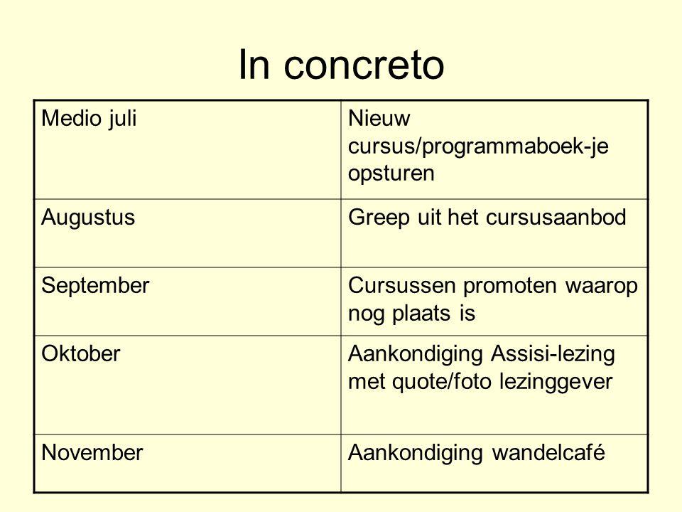 In concreto Medio juliNieuw cursus/programmaboek-je opsturen AugustusGreep uit het cursusaanbod SeptemberCursussen promoten waarop nog plaats is Oktob